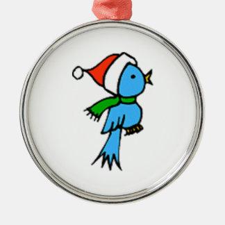 Pájaro del navidad que lleva el gorra de Santa Adorno Navideño Redondo De Metal