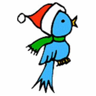 Pájaro del navidad que lleva el gorra de Santa Fotoescultura Vertical