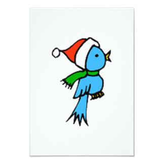 """Pájaro del navidad que lleva el gorra de Santa Invitación 3.5"""" X 5"""""""