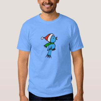 Pájaro del navidad que lleva el gorra de Santa Playera