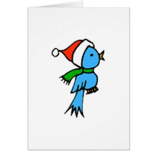 Pájaro del navidad que lleva el gorra de Santa Tarjeta De Felicitación