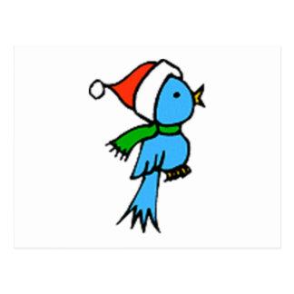 Pájaro del navidad que lleva el gorra de Santa Tarjetas Postales