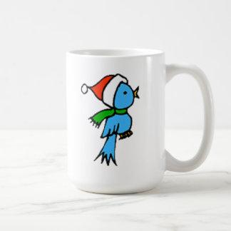 Pájaro del navidad que lleva el gorra de Santa Taza Básica Blanca