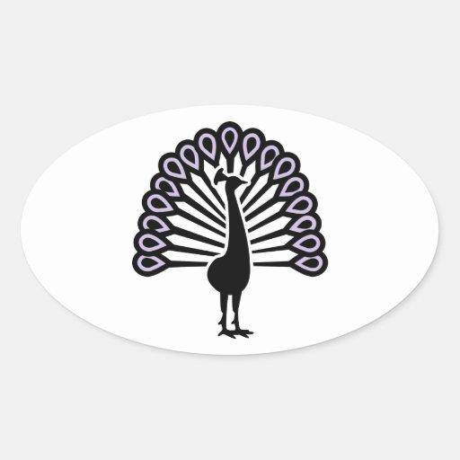 Pájaro del pavo real pegatinas oval personalizadas