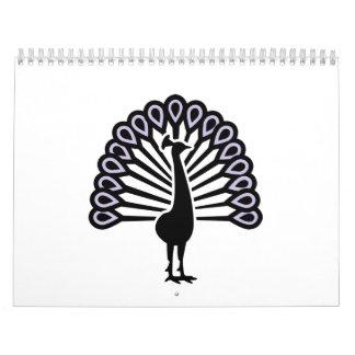 Pájaro del pavo real calendario de pared
