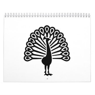Pájaro del pavo real calendario
