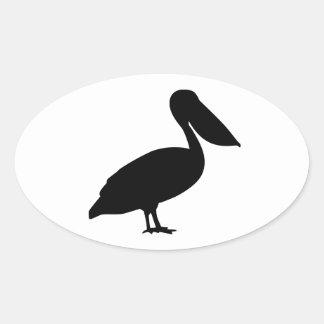 Pájaro del pelícano colcomanias de óval personalizadas