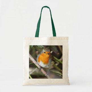 Pájaro del petirrojo en árbol bolsa tela barata