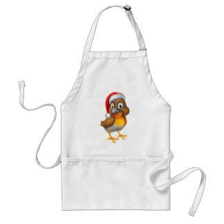 Pájaro del petirrojo en gorra del navidad de Santa Delantal