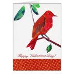 Pájaro del rojo de la tarjeta del día de San Valen