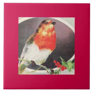 Pájaro del rojo del día de fiesta azulejos cerámicos