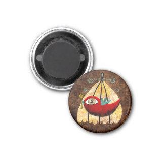 Pájaro del rojo del vintage imán redondo 3 cm