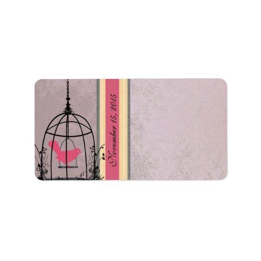 Pájaro del rosa de la jaula del vintage y puntos n