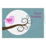Pájaro del rosa del feliz cumpleaños tarjetas