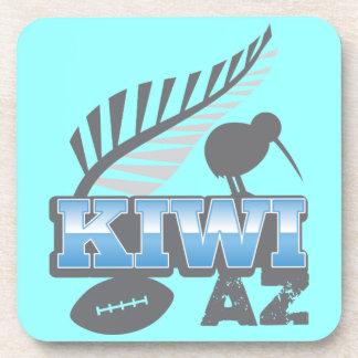 Pájaro del rugbi del KIWI AZ y helecho de plata Posavasos