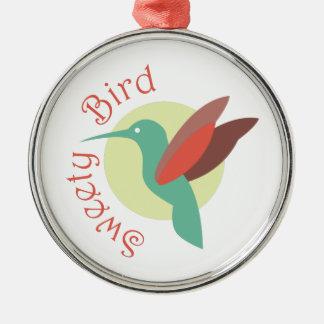 Pájaro del Sweety Adorno Redondo Plateado