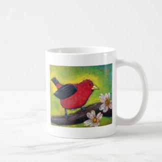 Pájaro del Tanager de escarlata Taza