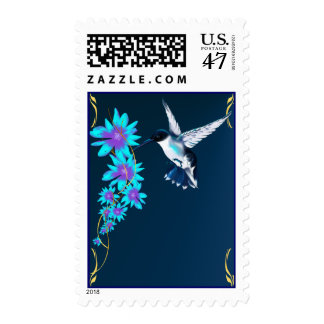 Pájaro del tarareo en franqueo azul timbres postales