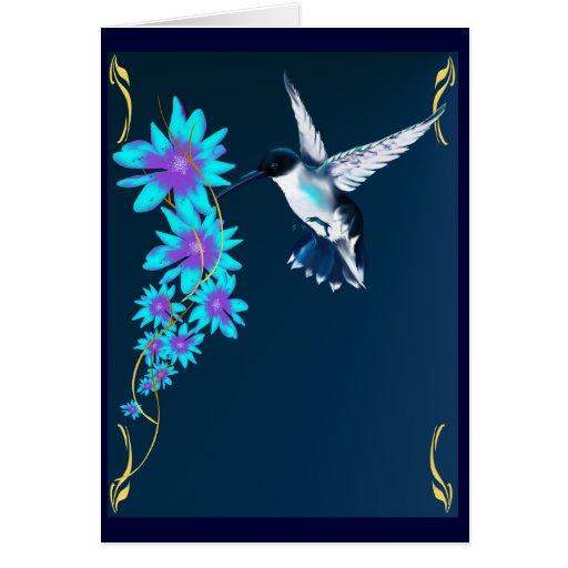 Pájaro del tarareo en tarjeta azul