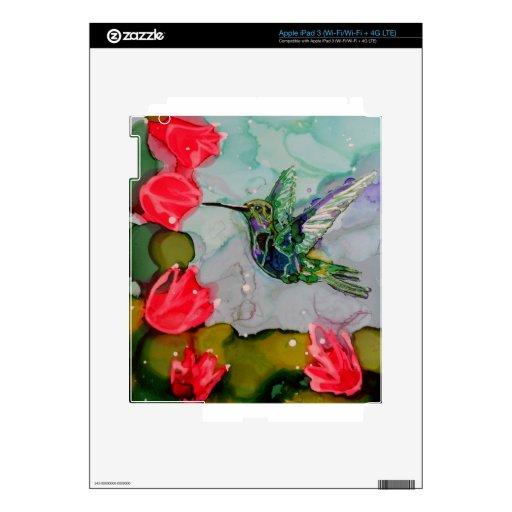 Pájaro del tarareo y flores rojas iPad 3 pegatinas skins