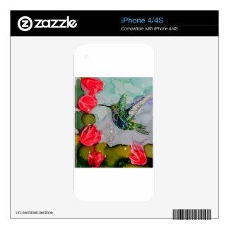 Pájaro del tarareo y flores rojas iPhone 4 calcomanías
