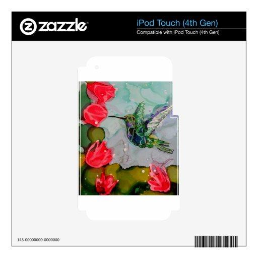 Pájaro del tarareo y flores rojas calcomanías para iPod touch 4G