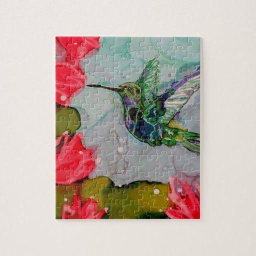 Pájaro del tarareo y flores rojas puzzles
