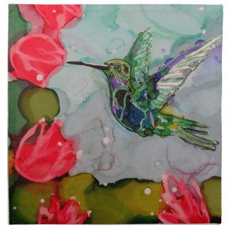 Pájaro del tarareo y flores rojas servilletas