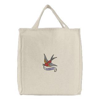 Pájaro del tatuaje con el bolso bordado bandera de bolsa de lienzo