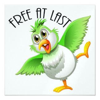 """Pájaro del tiempo del fiesta - libere en el último invitación 5.25"""" x 5.25"""""""