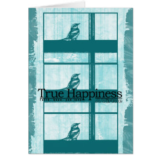 Pájaro del trullo en ventana felicitación