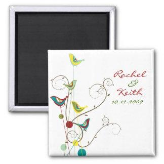 Pájaro del verano y Reserva--Fecha coloridos de Imán Cuadrado