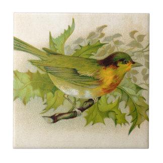 Pájaro del vintage azulejo cuadrado pequeño
