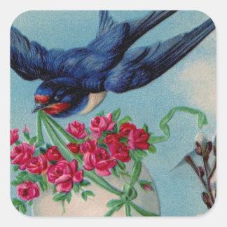Pájaro del vintage con el huevo de Pascua y la Pegatina Cuadrada