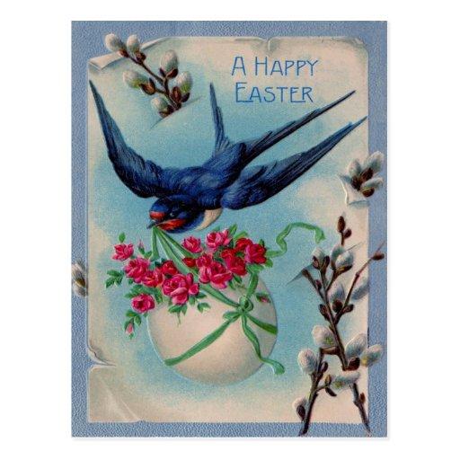 Pájaro del vintage con el huevo de Pascua y la Postales