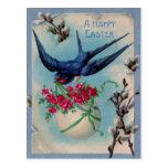 Pájaro del vintage con el huevo de Pascua y la tar Tarjetas Postales