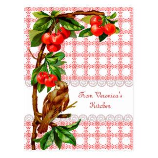 Pájaro del vintage del país y tarjeta de la receta tarjeta postal