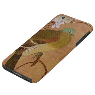 Pájaro del vintage en una rama del melocotón funda de iPhone 6 plus tough