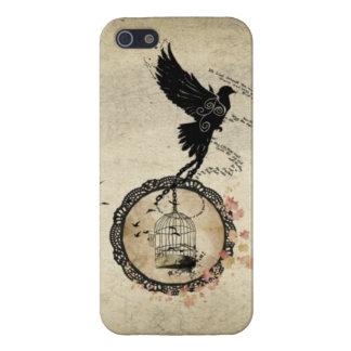 Pájaro del vintage encadenado para enjaular el cas iPhone 5 fundas
