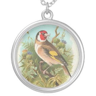 Pájaro del vintage llamado un Goldfinch Colgante Redondo