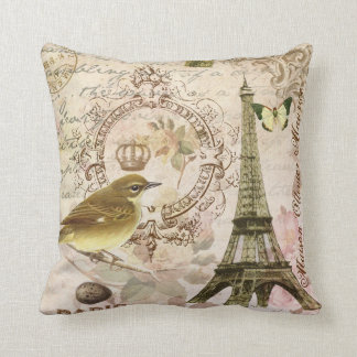 Pájaro del vintage y almohada franceses de la torr