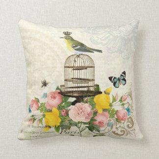 Pájaro del vintage y almohada franceses del birdca