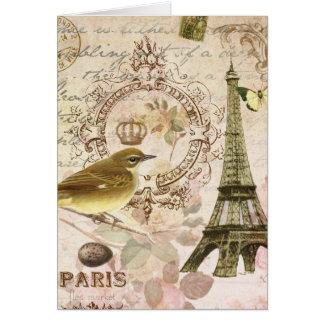 Pájaro del vintage y notecard franceses de la tarjeta de felicitación