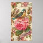 Pájaro del vintage y rosas rosados poster