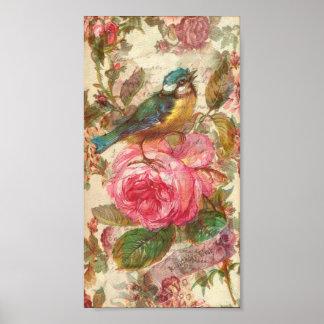 Pájaro del vintage y rosas rosados póster