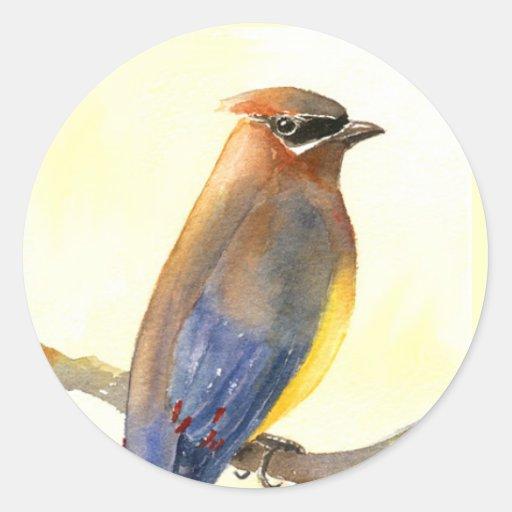 Pájaro del Waxwing Pegatina Redonda
