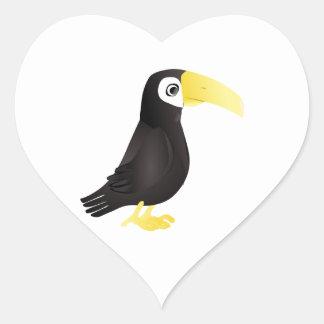 Pájaro derecho de Toucan del dibujo animado que Pegatina En Forma De Corazón