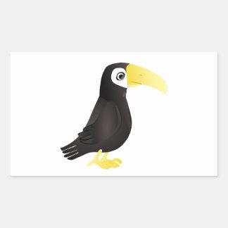Pájaro derecho de Toucan del dibujo animado que Pegatina Rectangular