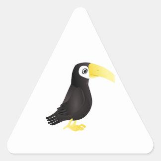 Pájaro derecho de Toucan del dibujo animado que Pegatina Triangular