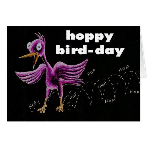 pájaro-día de lúpulo tarjetón